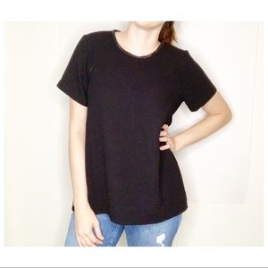 Madewell Leather Trim Tailored Tee Black Medium